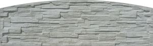Obrázek z Betonová plotová deska radiusová, jednostranná, štípaný kámen 200 x 66 x 4,5 cm