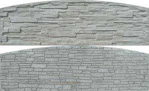 Obrázek z Betonová plotová deska radiusová, oboustranná, štípaný kámen, radius 200 x 66 x 4,5 cm